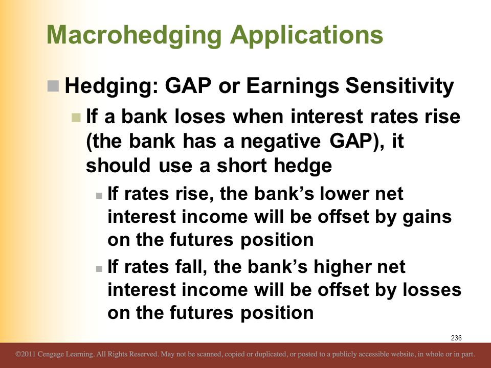 Macrohedging Applications Hedging: GAP or Earnings Sensitivity If a bank loses when interest rates rise (the bank has a negative GAP), it should use a