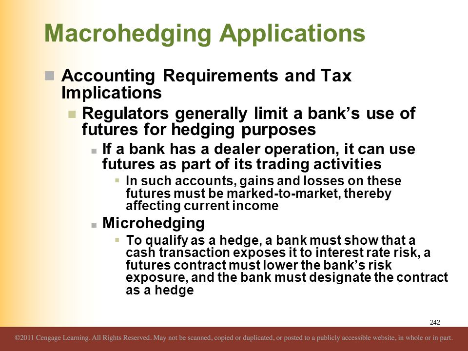 Macrohedging Applications Accounting Requirements and Tax Implications Regulators generally limit a bank's use of futures for hedging purposes If a ba