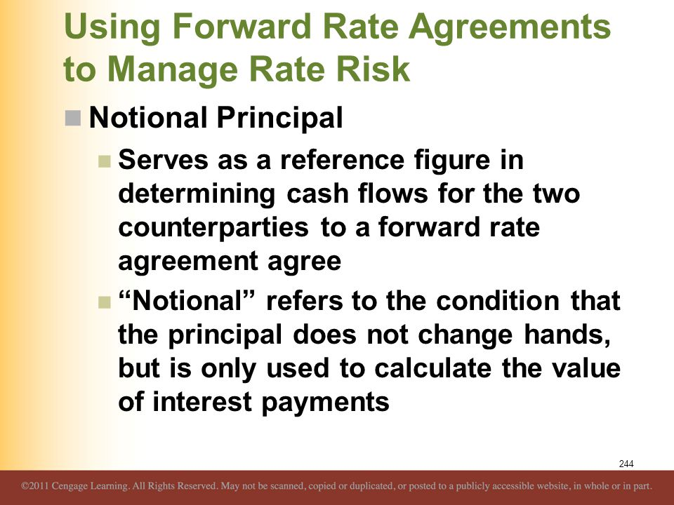 Using Forward Rate Agreements to Manage Rate Risk Notional Principal Serves as a reference figure in determining cash flows for the two counterparties