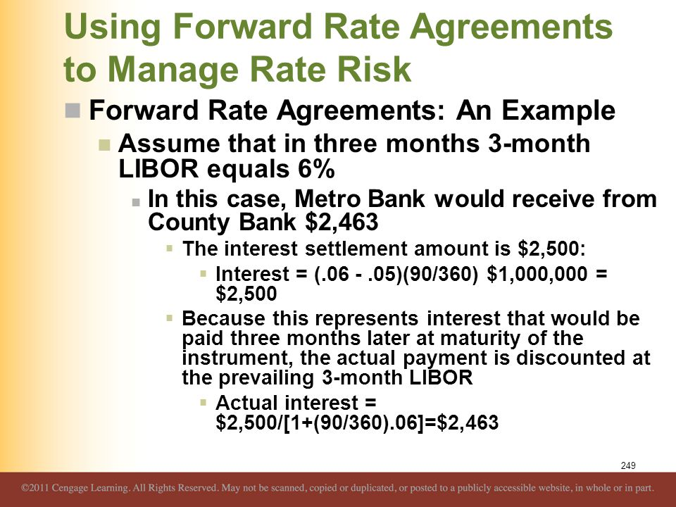 Using Forward Rate Agreements to Manage Rate Risk Forward Rate Agreements: An Example Assume that in three months 3-month LIBOR equals 6% In this case