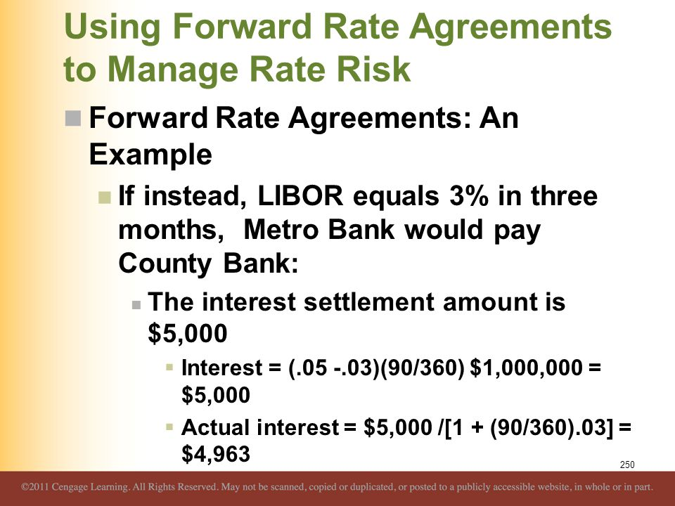 Using Forward Rate Agreements to Manage Rate Risk Forward Rate Agreements: An Example If instead, LIBOR equals 3% in three months, Metro Bank would pa