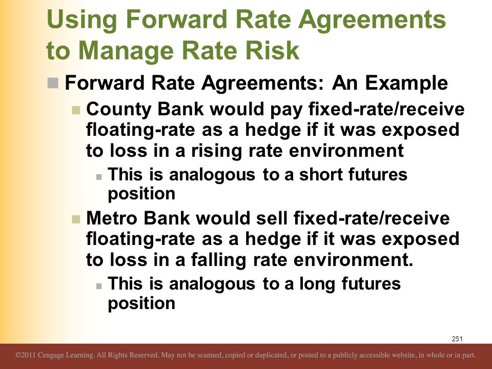 Using Forward Rate Agreements to Manage Rate Risk Forward Rate Agreements: An Example County Bank would pay fixed-rate/receive floating-rate as a hedg
