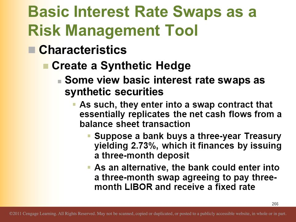 Basic Interest Rate Swaps as a Risk Management Tool Characteristics Create a Synthetic Hedge Some view basic interest rate swaps as synthetic securiti