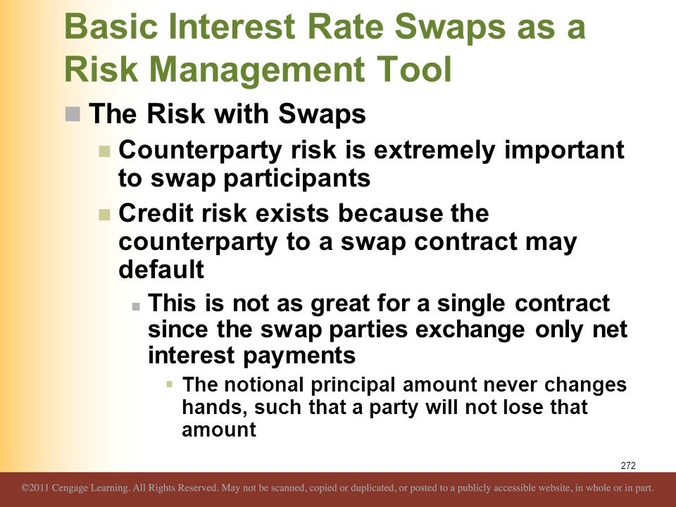 Basic Interest Rate Swaps as a Risk Management Tool The Risk with Swaps Counterparty risk is extremely important to swap participants Credit risk exis