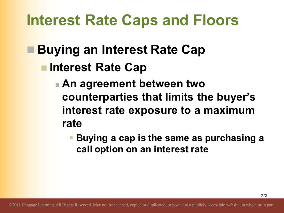 Interest Rate Caps and Floors Buying an Interest Rate Cap Interest Rate Cap An agreement between two counterparties that limits the buyer's interest r