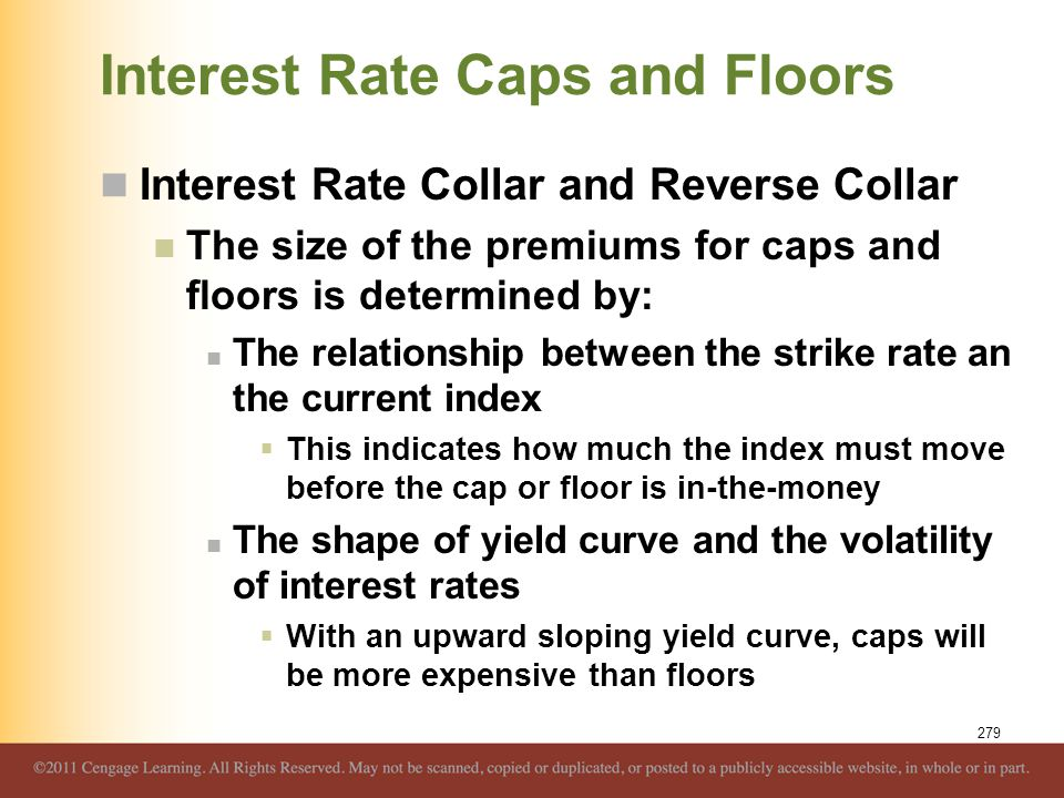 Interest Rate Caps and Floors Interest Rate Collar and Reverse Collar The size of the premiums for caps and floors is determined by: The relationship