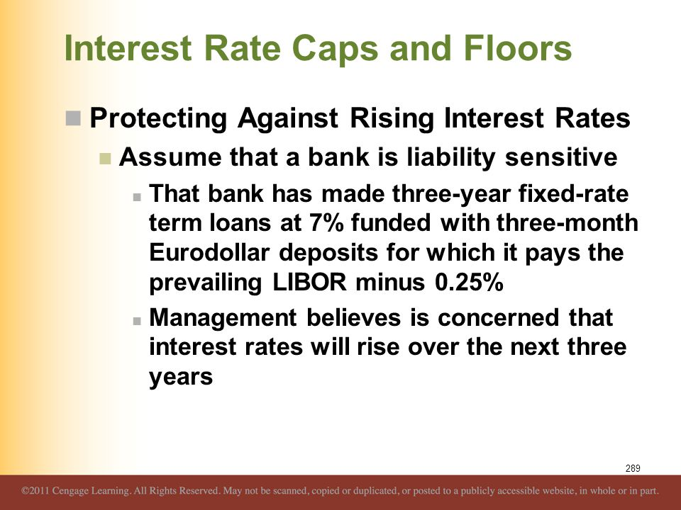 Interest Rate Caps and Floors Protecting Against Rising Interest Rates Assume that a bank is liability sensitive That bank has made three-year fixed-r