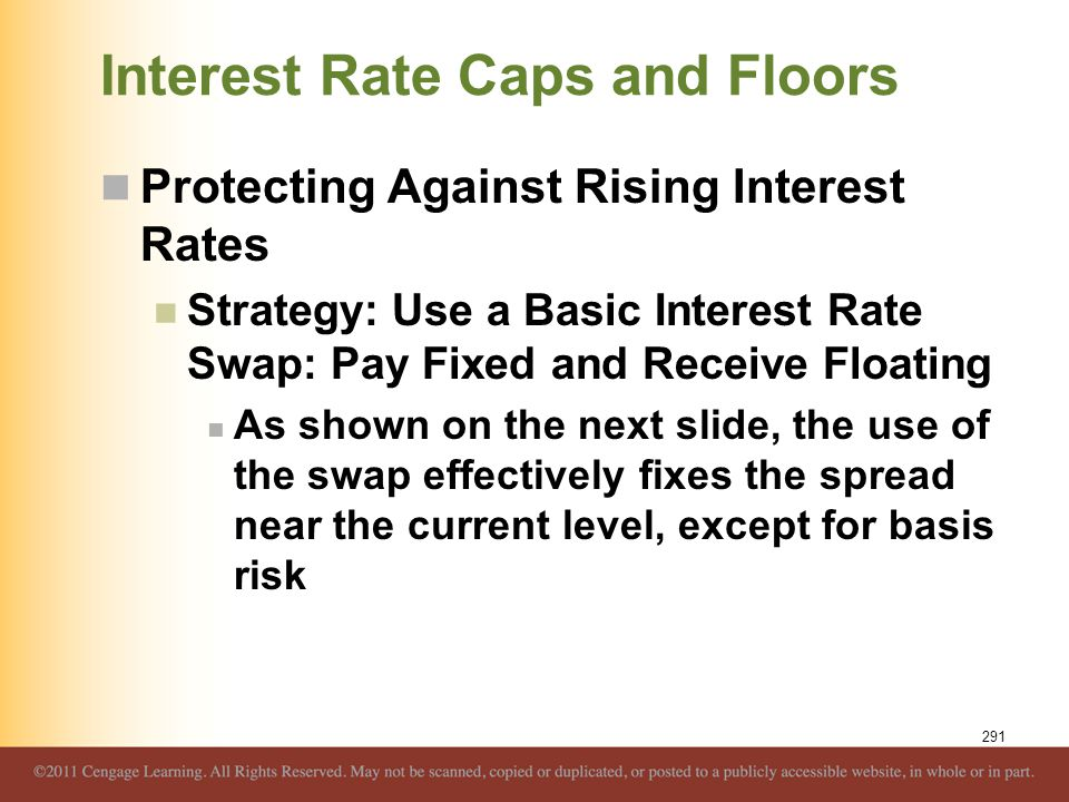 Interest Rate Caps and Floors Protecting Against Rising Interest Rates Strategy: Use a Basic Interest Rate Swap: Pay Fixed and Receive Floating As sho
