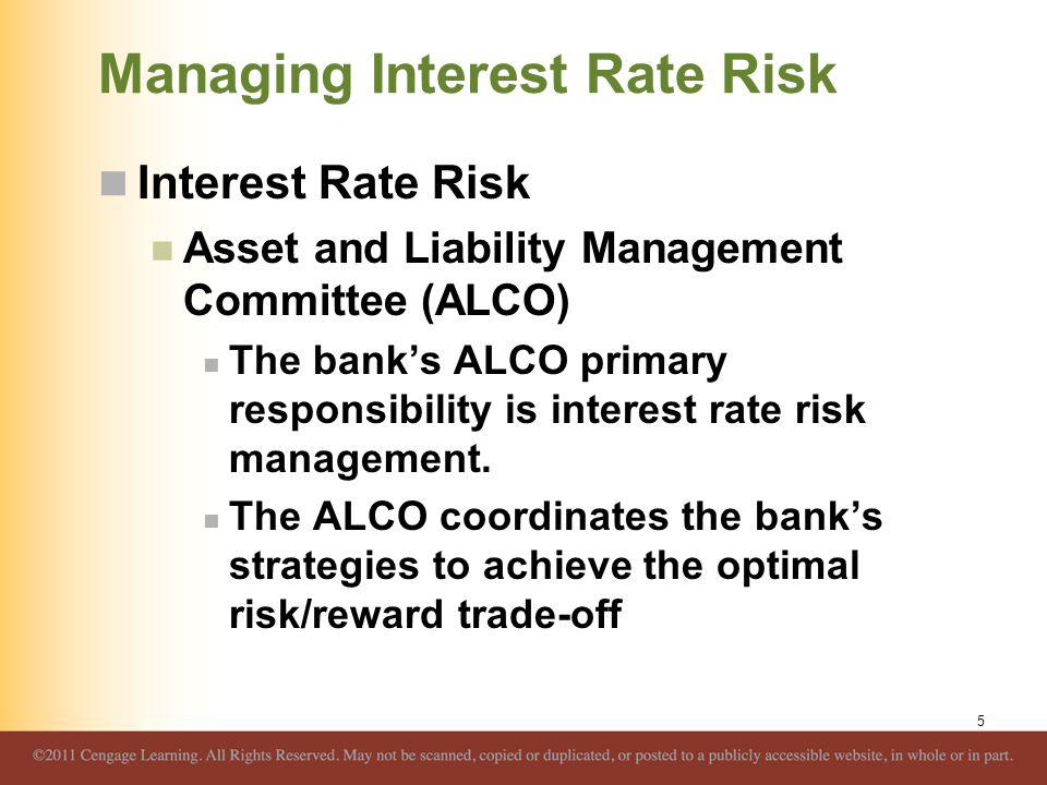 Managing Interest Rate Risk Interest Rate Risk Asset and Liability Management Committee (ALCO) The bank's ALCO primary responsibility is interest rate