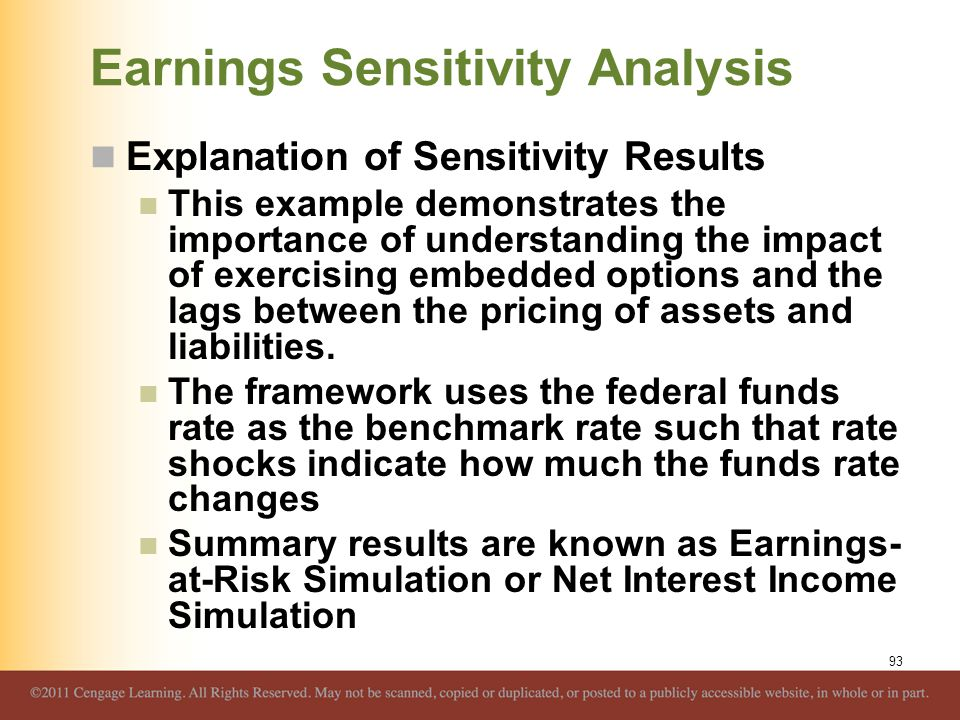 Earnings Sensitivity Analysis Explanation of Sensitivity Results This example demonstrates the importance of understanding the impact of exercising em