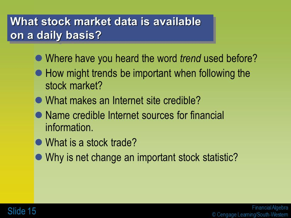 Financial Algebra © Cengage Learning/South-Western Slide 15 What stock market data is available on a daily basis.