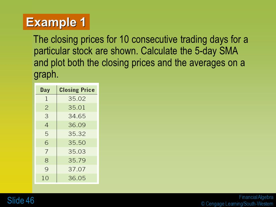 Financial Algebra © Cengage Learning/South-Western Slide 46 The closing prices for 10 consecutive trading days for a particular stock are shown.