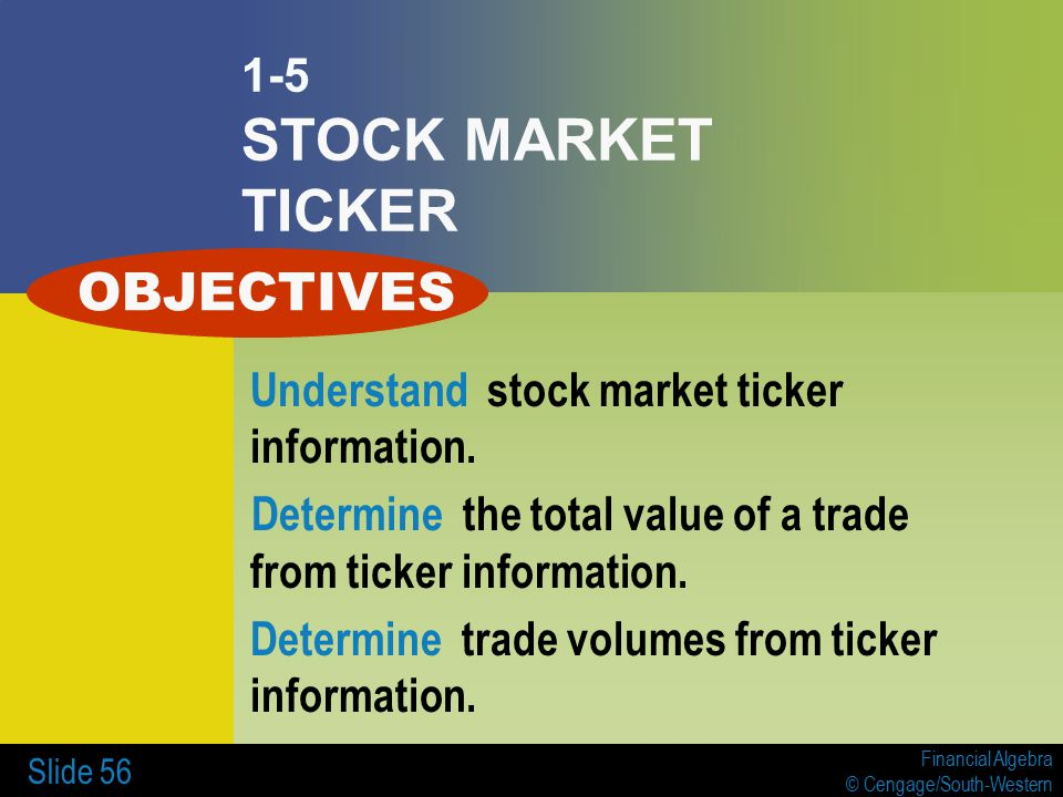 Financial Algebra © Cengage/South-Western Slide 56 1-5 STOCK MARKET TICKER Understand stock market ticker information. Determine the total value of a