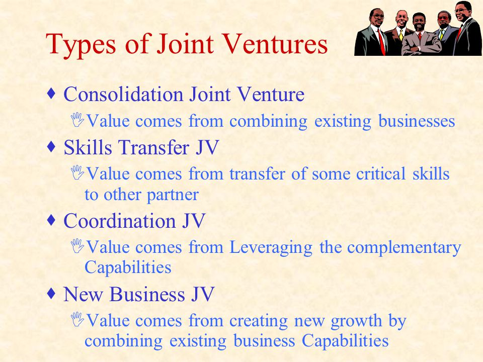 Types of Joint Ventures  Consolidation Joint Venture IValue comes from combining existing businesses  Skills Transfer JV IValue comes from transfer of some critical skills to other partner  Coordination JV IValue comes from Leveraging the complementary Capabilities  New Business JV IValue comes from creating new growth by combining existing business Capabilities