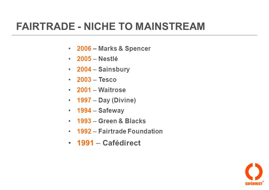 FAIRTRADE - NICHE TO MAINSTREAM 2006 – Marks & Spencer 2005 – Nestlé 2004 – Sainsbury 2003 – Tesco 2001 – Waitrose 1997 – Day (Divine) 1994 – Safeway 1993 – Green & Blacks 1992 – Fairtrade Foundation 1991 – Cafédirect