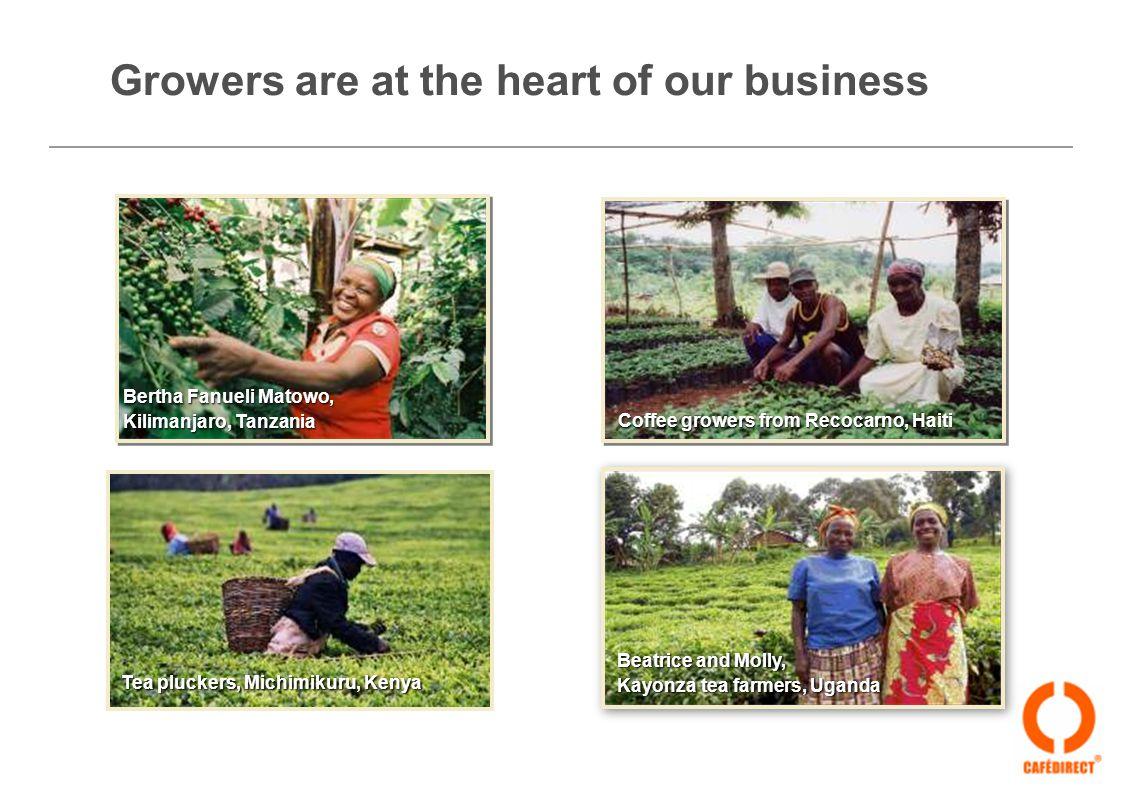Bertha Fanueli Matowo, Kilimanjaro, Tanzania Bertha Fanueli Matowo, Kilimanjaro, Tanzania Coffee growers from Recocarno, Haiti Tea pluckers, Michimikuru, Kenya Beatrice and Molly, Kayonza tea farmers, Uganda Beatrice and Molly, Kayonza tea farmers, Uganda Growers are at the heart of our business