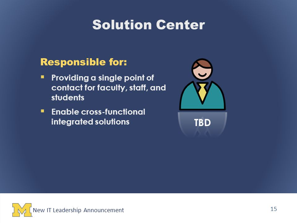 New IT Leadership Announcement 15 Solution Center Responsible for:  Providing a single point of contact for faculty, staff, and students  Enable cross-functional integrated solutions TBD