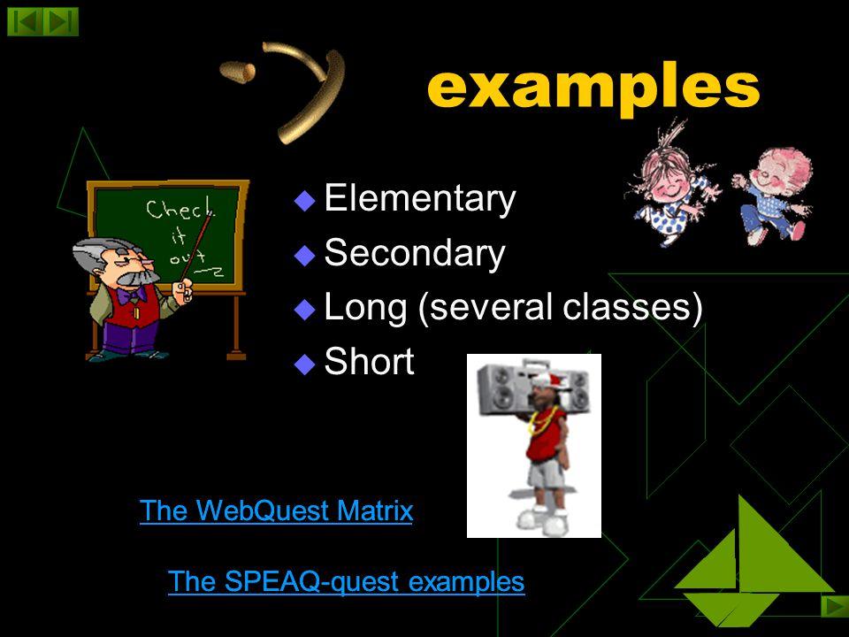 Investigate resources  The WebQuest resources The WebQuest resources  Audio, video, photo & clipart collections, language resources, etc.