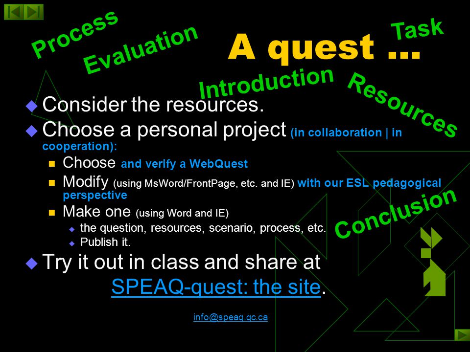 examples  Elementary  Secondary  Long (several classes)  Short The SPEAQ-quest examples The WebQuest Matrix The SPEAQ-quest examples The WebQuest Matrix