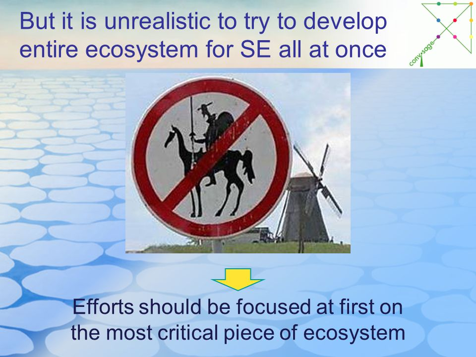 But it is unrealistic to try to develop entire ecosystem for SE all at once Efforts should be focused at first on the most critical piece of ecosystem