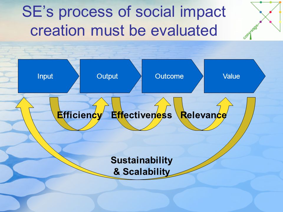 SE's process of social impact creation must be evaluated ValueOutcomeOutputInput EfficiencyEffectivenessRelevance Sustainability & Scalability