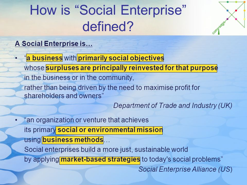 How is Social Enterprise defined.