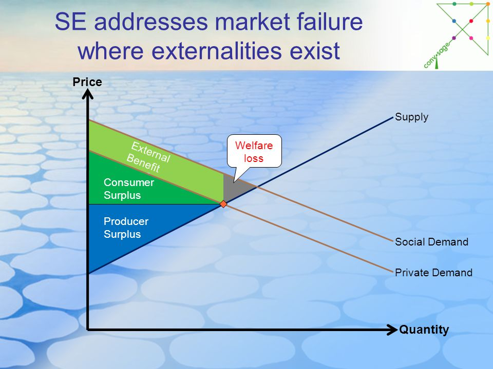 SE addresses market failure where externalities exist Price Quantity Supply Social Demand Producer Surplus Consumer Surplus Private Demand External Benefit Welfare loss