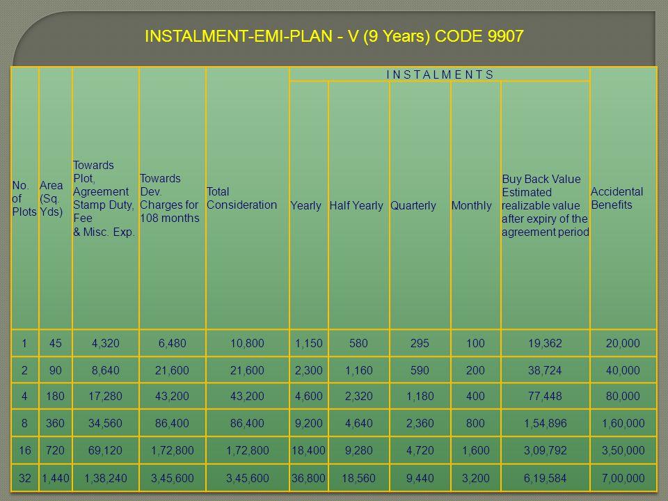 INSTALMENT-EMI-PLAN - V (9 Years) CODE 9907