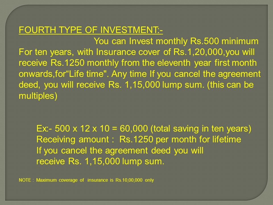 FOURTH TYPE OF INVESTMENT:- You can Invest monthly Rs.500 minimum For ten years, with Insurance cover of Rs.1,20,000,you will receive Rs.1250 monthly