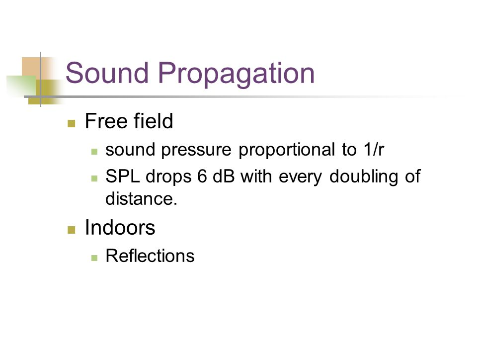 Sound Propagation Free field sound pressure proportional to 1/r SPL drops 6 dB with every doubling of distance.