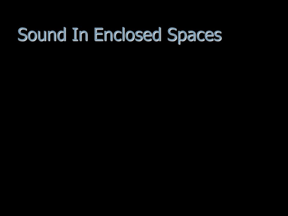 Sound In Enclosed Spaces