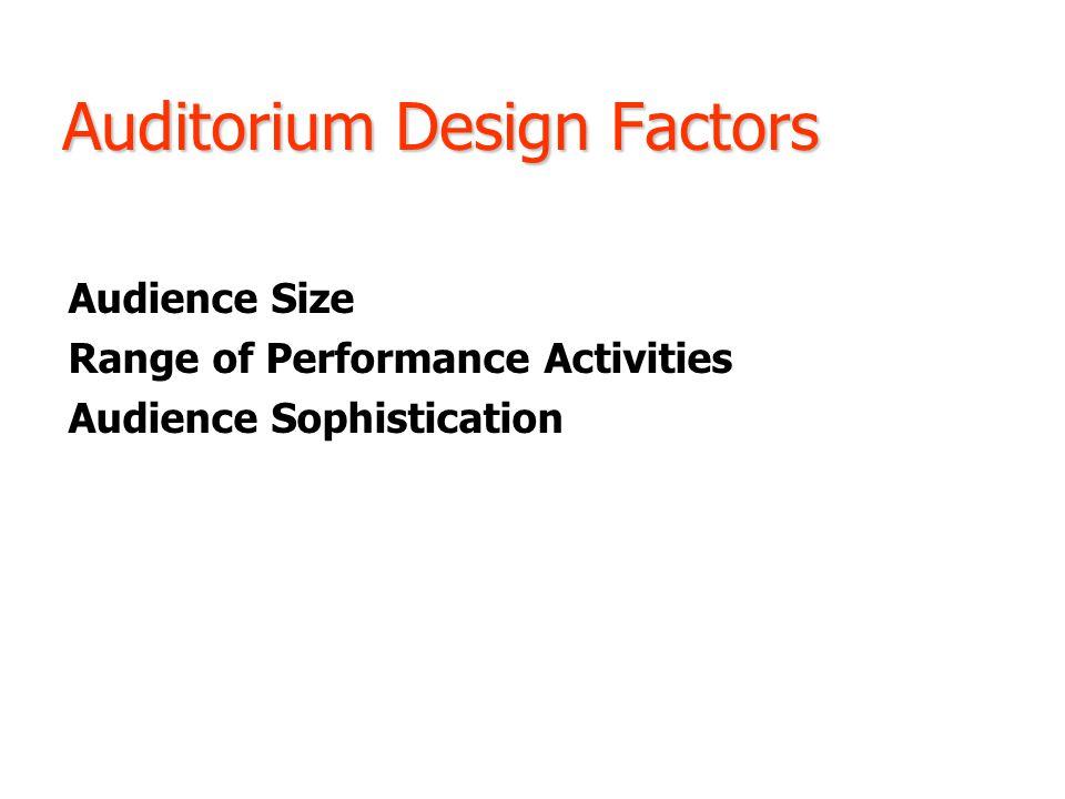 Auditorium Design Factors Audience Size Range of Performance Activities Audience Sophistication