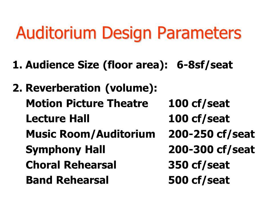 Auditorium Design Parameters 1. Audience Size (floor area): 6-8sf/seat 2.