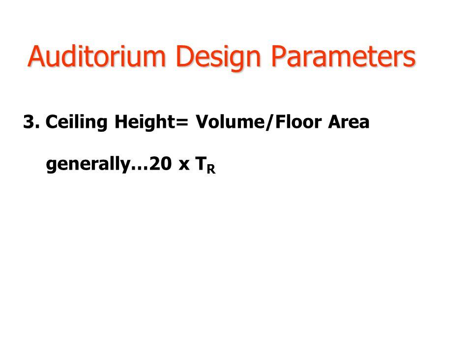Auditorium Design Parameters 3. Ceiling Height= Volume/Floor Area generally…20 x T R