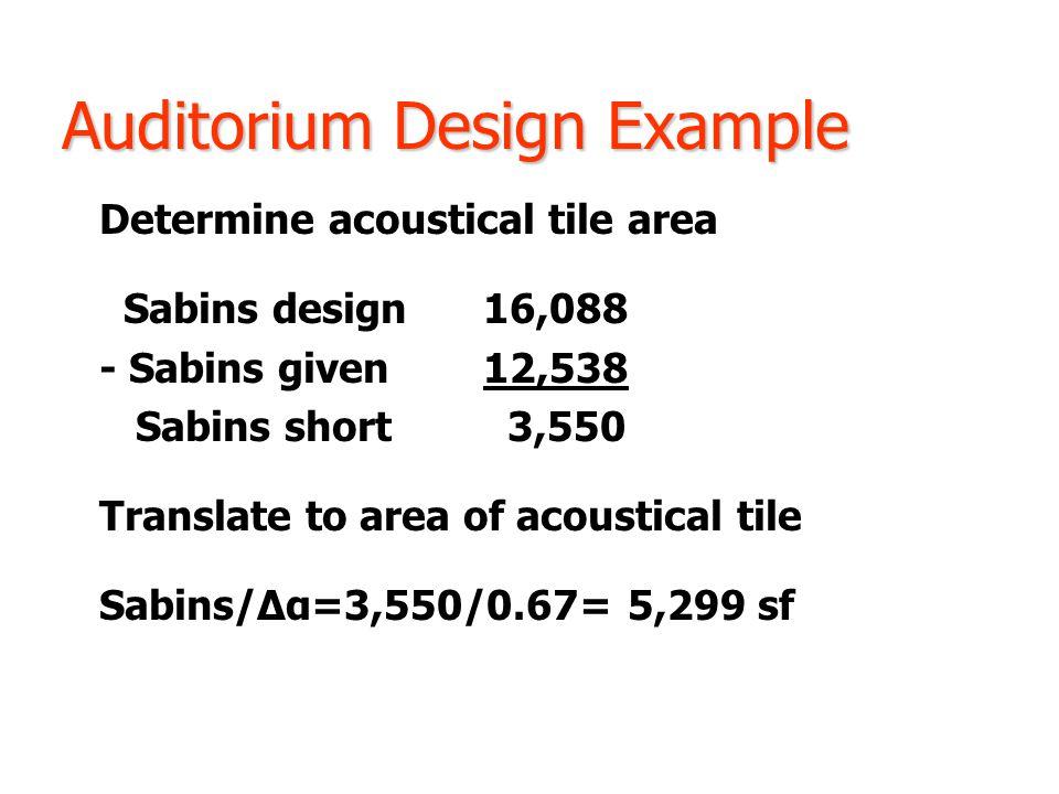 Auditorium Design Example Determine acoustical tile area Sabins design16,088 - Sabins given12,538 Sabins short 3,550 Translate to area of acoustical tile Sabins/Δα=3,550/0.67= 5,299 sf