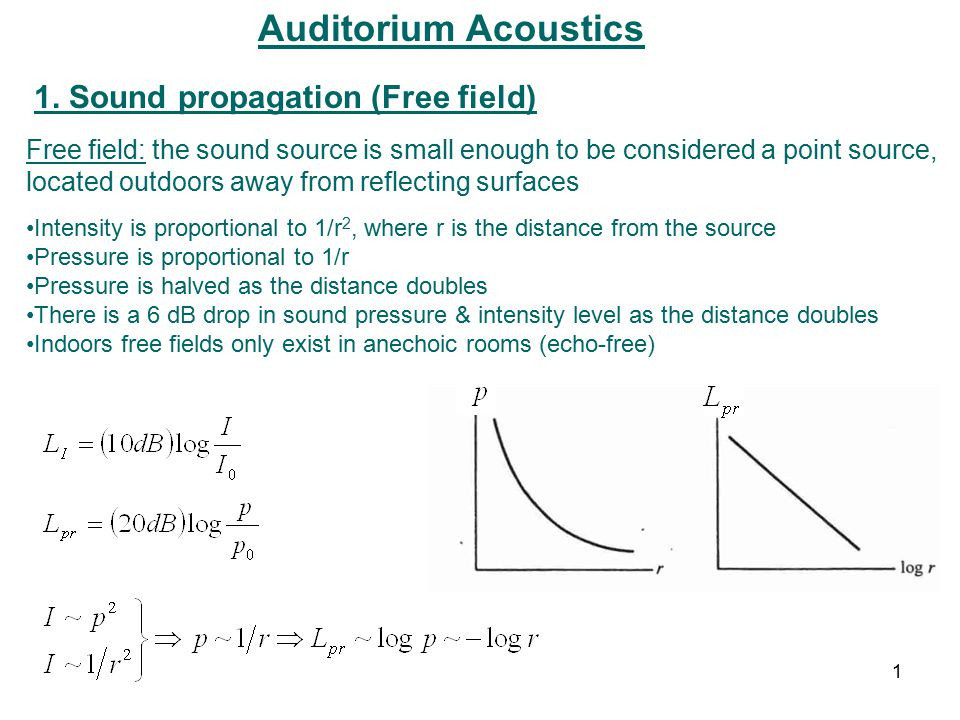 Auditorium Acoustics 1. Sound propagation (Free field) Free field: the sound source is small enough to be considered a point source, located outdoors