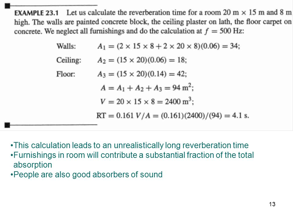 This calculation leads to an unrealistically long reverberation time Furnishings in room will contribute a substantial fraction of the total absorptio