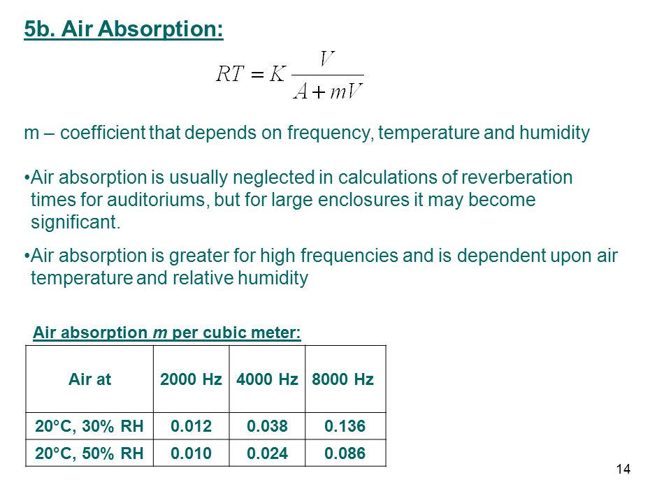 5b. Air Absorption: m – coefficient that depends on frequency, temperature and humidity Air absorption is usually neglected in calculations of reverbe