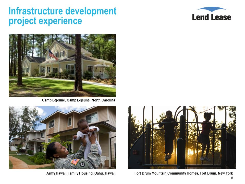 Infrastructure development project experience 8 Camp Lejeune, Camp Lejeune, North Carolina Army Hawaii Family Housing, Oahu, HawaiiFort Drum Mountain Community Homes, Fort Drum, New York