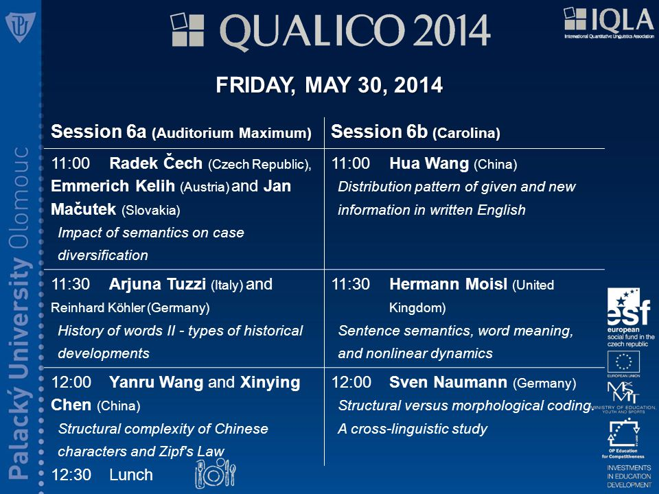 FRIDAY, MAY 30, 2014 15:30Coffee break Session 7a (Auditorium Maximum) Session 7b (Carolina) 14:00 Maciej Eder (Poland) Large-scale stylometry using network analysis 14:00Heng Chen (China) Word length distribution in Chinese dialogue and prose texts 14:30Belinda Hasanaj, Erin Purnell and Patrick Juola (USA) Cross-linguistic transference of authorship attribution 14:30Narisong Jin (China) Word length and word frequency in Mongolian 15:00Jan Rybicki (Poland) Translations in networks: The (in)visibility of translator styles 15:00Adriana Pagano (Brazil), Giacomo Figueredo (Brazil) and Annabelle Lukin (Australia) Modelling proximity in a corpus of literary retranslations: A methodological proposal for clustering texts based on systemic-functional annotation of lexicogrammatical features