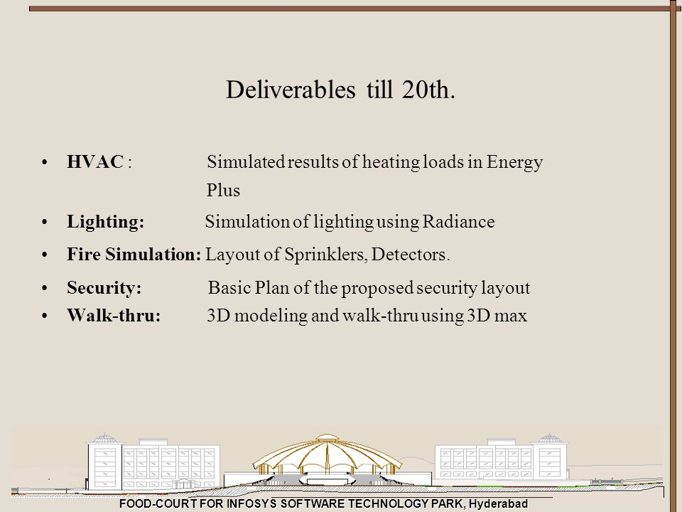 FOOD-COURT FOR INFOSYS SOFTWARE TECHNOLOGY PARK, Hyderabad Deliverables till 20th. HVAC : Simulated results of heating loads in Energy Plus Lighting: