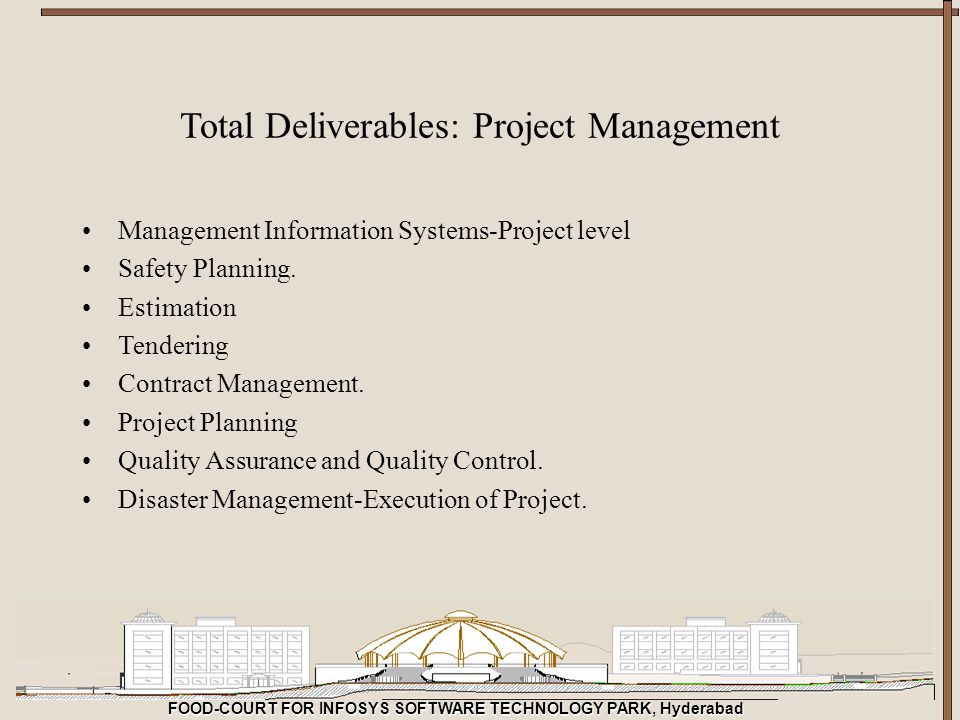 FOOD-COURT FOR INFOSYS SOFTWARE TECHNOLOGY PARK, Hyderabad Management Information Systems-Project level Safety Planning. Estimation Tendering Contract