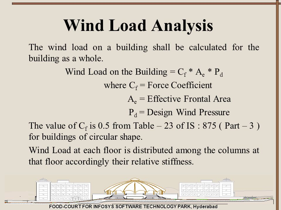 FOOD-COURT FOR INFOSYS SOFTWARE TECHNOLOGY PARK, Hyderabad Wind Load Analysis The wind load on a building shall be calculated for the building as a wh