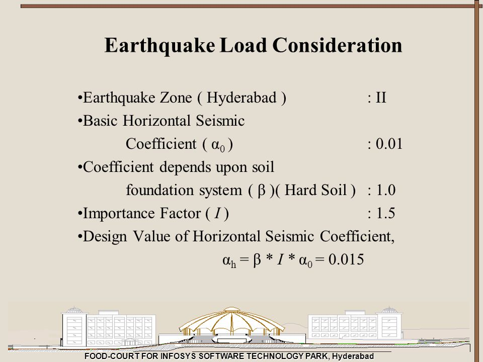 FOOD-COURT FOR INFOSYS SOFTWARE TECHNOLOGY PARK, Hyderabad Earthquake Load Consideration Earthquake Zone ( Hyderabad ): II Basic Horizontal Seismic Co
