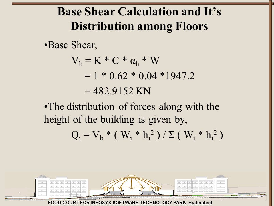 FOOD-COURT FOR INFOSYS SOFTWARE TECHNOLOGY PARK, Hyderabad Base Shear Calculation and It's Distribution among Floors Base Shear, V b = K * C * α h * W