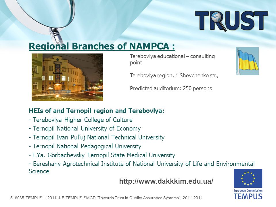 516935-TEMPUS-1-2011-1-FITEMPUS-SMGR Towards Trust in Quality Assurance Systems , 2011-2014 Regional Branches of NAMPCA : HEIs of Kamianets-Podilskyi region: - College of Medicine - College of Culture - College of Industry - College of Construction - Khmelnytsky National University - Iv.