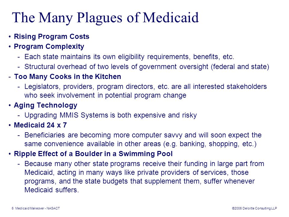 ©2006 Deloitte Consulting LLP 6 Medicaid Makeover - NASACT The Many Plagues of Medicaid Rising Program Costs Program Complexity -Each state maintains its own eligibility requirements, benefits, etc.