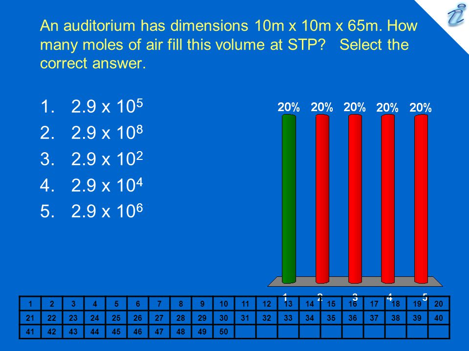 An auditorium has dimensions 10m x 10m x 65m. How many moles of air fill this volume at STP? Select the correct answer. 123456789101112131415161718192