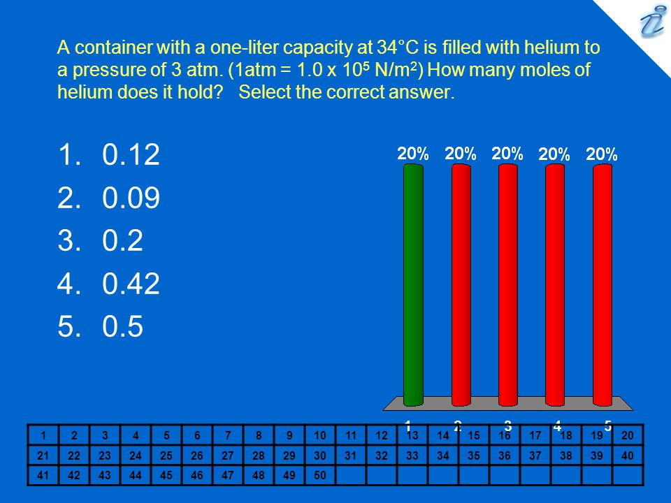 A container with a one-liter capacity at 34°C is filled with helium to a pressure of 3 atm. (1atm = 1.0 x 10 5 N/m 2 ) How many moles of helium does i