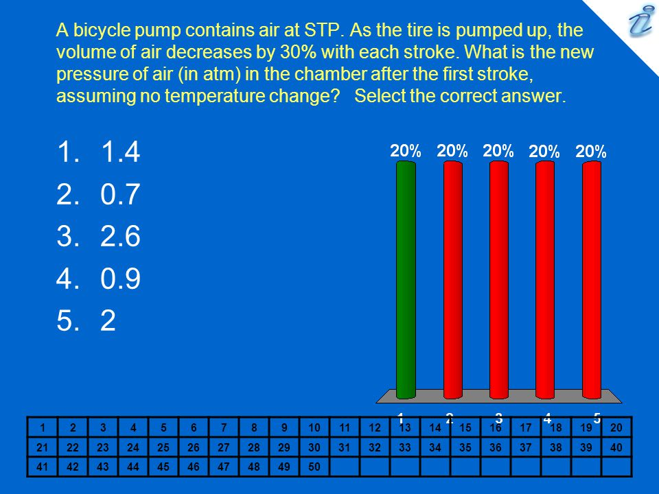 A bicycle pump contains air at STP. As the tire is pumped up, the volume of air decreases by 30% with each stroke. What is the new pressure of air (in